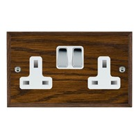 Picture of 2 Gang 13A Double Pole Switched Socket/ Bright Chrome / Woods Dark Oak Chamfered Edge with White Surround Inserts