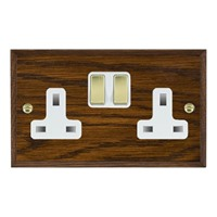 Picture of 2 Gang 13A Double Pole Switched Socket/ Polished Brass / Woods Dark Oak Chamfered Edge with White Surround Inserts