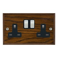 Picture of 2 Gang 13A Double Pole Switched Socket / Satin Chrome / Woods Dark Oak Chamfered Edge with Black Surround Inserts