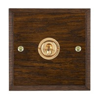 Picture of 1 Gang 20A 2 Way Toggle / Polished Brass / Woods Dark Oak Chamfered Edge with White Surround Inserts