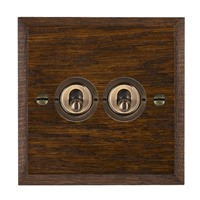 Picture of 2 Gang 20A 2 Way Toggle / Antique Brass / Woods Dark Oak Chamfered Edge with White Surround Inserts