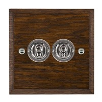 Picture of 2 Gang 20A 2 Way Toggle / Bright Chrome / Woods Dark Oak Chamfered Edge with White Surround Inserts