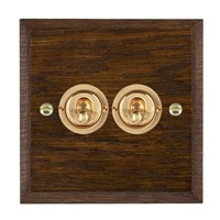 Picture of 2 Gang 20A 2 Way Toggle / Polished Brass / Woods Dark Oak Chamfered Edge with White Surround Inserts