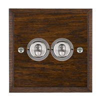 Picture of 2 Gang 20A 2 Way Toggle / Satin Chrome / Woods Dark Oak Chamfered Edge with White Surround Inserts