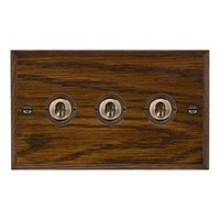Picture of 3 Gang 20A 2 Way Toggle / Antique Brass / Woods Dark Oak Chamfered Edge with White Surround Inserts