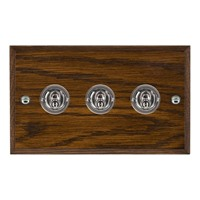 Picture of 3 Gang 20A 2 Way Toggle / Bright Chrome / Woods Dark Oak Chamfered Edge with White Surround Inserts