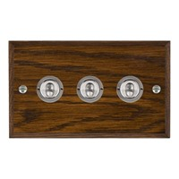 Picture of 3 Gang 20A 2 Way Toggle / Satin Chrome / Woods Dark Oak Chamfered Edge with White Surround Inserts