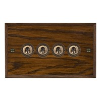 Picture of 4 Gang 20A 2 Way Toggle / Antique Brass / Woods Dark Oak Chamfered Edge with White Surround Inserts