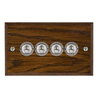 Picture of 4 Gang 20A 2 Way Toggle / Satin Chrome / Woods Dark Oak Chamfered Edge with White Surround Inserts