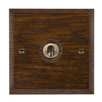 Picture of 1 Gang 20AX Intermediate Toggle / Antique Brass / Woods Dark Oak Chamfered Edge with White Surround Inserts