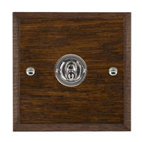 Picture of 1 Gang 20AX Intermediate Toggle / Bright Chrome / Woods Dark Oak Chamfered Edge with White Surround Inserts