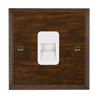 Picture of 1 Gang Telephone Master / White Plastic / Woods Dark Oak Chamfered Edge with White Surround Inserts