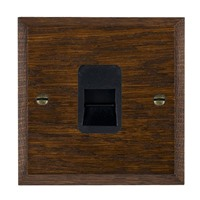 Picture of 1 Gang Telephone Slave / Black Plastic / Woods Dark Oak Chamfered Edge with Black Surround Inserts