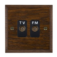 Picture of Isolated TV/FM Diplexer 1 In/ 2 Out / Black Plastic / Woods Dark Oak Chamfered Edge with Black Surround Inserts