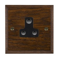 Picture of 1 Gang 5A Unswitched Socket / Black Plastic / Woods Dark Oak Chamfered Edge with Black Surround Inserts