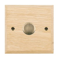 Picture of 1 Gang 200VA 2 Way Dimmer / Antique Brass / Woods Light Oak Chamfered Edge with White Surround Inserts