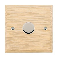 Picture of 1 Gang 200VA 2 Way Dimmer / Bright Chrome / Woods Light Oak Chamfered Edge with White Surround Inserts