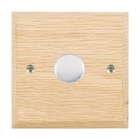 Picture of 1 Gang 200VA 2 Way Dimmer / Satin Chrome / Woods Light Oak Chamfered Edge with White Surround Inserts