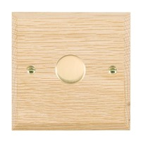 Picture of 1 Gang 600W 2 Way Dimmer / Polished Brass / Woods Light Oak Chamfered Edge with White Surround Inserts