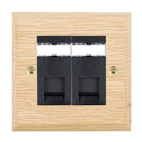 Picture of 2 Gang RJ45 CAT 5E Outlet Unshielded / Black Plastic / Woods Light Oak Chamfered Edge with Black Surround Inserts