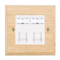 Picture of 2 Gang RJ45 CAT SE Outlet Unshielded / White Plastics / Woods Light Oak Chamfered Edge with White Surround Inserts
