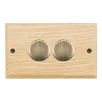 Picture of 2 Gang 400W 2 Way Dimmer / Antique Brass / Woods Light Oak Chamfered Edge with White Surround Inserts