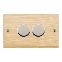 Picture of 2 Gang 400W 2 Way Dimmer / Bright Chrome / Woods Light Oak Chamfered Edge with White Surround Inserts