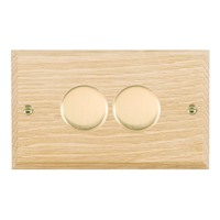 Picture of 2 Gang 400W 2 Way Dimmer / Polished Brass / Woods Light Oak Chamfered Edge with White Surround Inserts