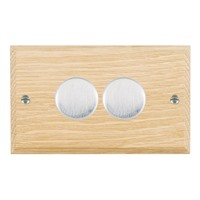 Picture of 2 Gang 400W 2 Way Dimmer / Satin Chrome / Woods Light Oak Chamfered Edge with White Surround Inserts