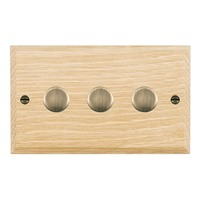 Picture of 3 Gang 400W 2 Way Dimmer / Antique Brass / Woods Light Oak Chamfered Edge with White Surround Inserts