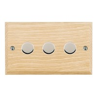 Picture of 3 Gang 400W 2 Way Dimmer / Bright Chrome / Woods Light Oak Chamfered Edge with White Surround Inserts