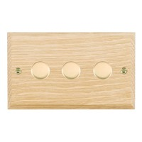 Picture of 3 Gang 400W 2 Way Dimmer / Polished Brass / Woods Light Oak Chamfered Edge with White Surround Inserts
