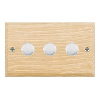 Picture of 3 Gang 400W 2 Way Dimmer / Satin Chrome / Woods Light Oak Chamfered Edge with White Surround Inserts