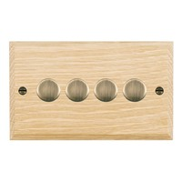 Picture of 4 Gang 400W 2 Way Dimmer / Antique Brass / Woods Light Oak Chamfered Edge with White Surround Inserts