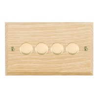 Picture of 4 Gang 400W 2 Way Dimmer / Polished Brass / Woods Light Oak Chamfered Edge with White Surround Inserts
