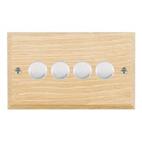 Picture of 4 Gang 400W 2 Way Dimmer / Satin Chrome / Woods Light Oak Chamfered Edge with White Surround Inserts