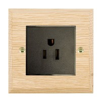 Picture of 1 Gang 15A American Unswitched Socket / Black Plastic / Woods Light Oak Chamfered Edge with Black Surround Inserts