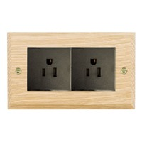 Picture of 2 Gang 15A American Unswitched Socket / Black Plastic / Woods Light Oak Chamfered Edge with Black Surround Inserts