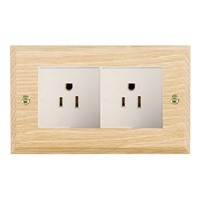 Picture of 2 Gang 15A American Unswicthed Socket / White Plastics / Woods Light Oak Chamfered Edge with White Surround Inserts
