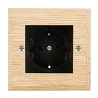 Picture of 1 Gang 16A German Unswitched Socket / Black Plastic / Woods Light Oak Chamfered Edge with Black Surround Inserts