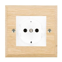 Picture of 1 Gang 16A German Unswicthed Socket / White Plastics / Woods Light Oak Chamfered Edge with White Surround Inserts