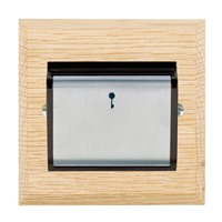 Picture of 1 Gang 12-24 V AC/DC +/- 10% On/Off with Blue Locator / Satin Chrome / Woods Light Oak Chamfered Edge with Black Surround Inserts