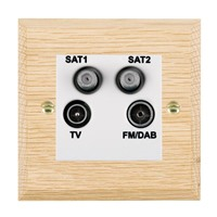 Picture of Non Isolated TV/ FM Satellite 1/ Satellite 2 Quadplexer 2 In/ 4 Out / White Plastics / Woods Light Oak Chamfered Edge with White Surround Inserts