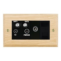 Picture of Non Isolated TV/ FM/ Satellite 1/ Satellite 2 Quadplexer 2 In/ 4 out + TVF + TCS / Black Plastic / Woods Light Oak Chamfered Edge with Black Surround Inserts