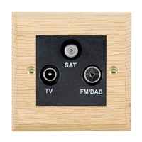 Picture of Non Isolated TV/FM/ Satellite Triplexer 1 In/ 3 Out / Black Plastic / Woods Light Oak Chamfered Edge with Black Surround Inserts