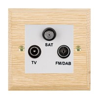 Picture of Non Isolated TV/FM Satellite Triplexer 1 In/ 3 Out / White Plastics / Woods Light Oak Chamfered Edge with White Surround Inserts