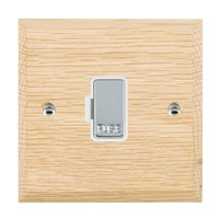 Picture of 1 Gang 13A Fuse Only / Bright Chrome / Woods Light Oak Chamfered Edge with White Surround Inserts