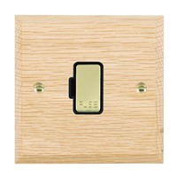 Picture of 1 Gang 13A Fuse Only / Polished Brass / Woods Light Oak Chamfered Edge with Black Surround Inserts