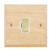 Picture of 1 Gang 13A Fuse Only / Polished Brass / Woods Light Oak Chamfered Edge with White Surround Inserts