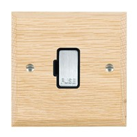 Picture of 1 Gang 13A Fuse Only / Satin Chrome / Woods Light Oak Chamfered Edge with Black Surround Inserts